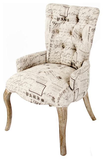 Iris tufted vanity dining chair with literary french