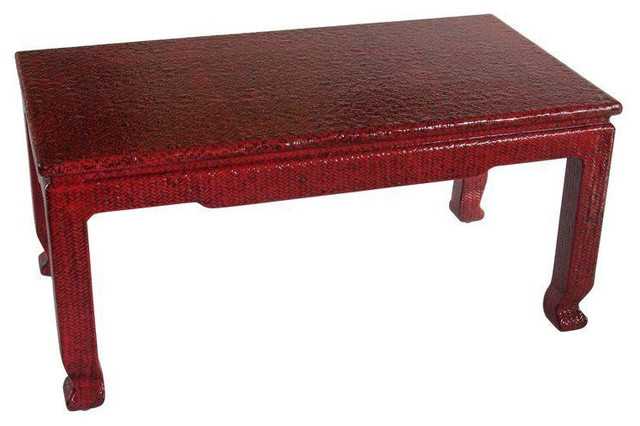 Rattan coffee table lacquered in red for Red modern coffee table