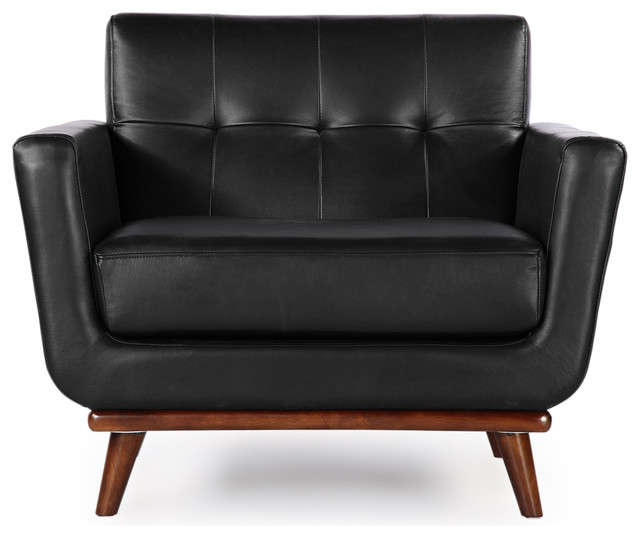 Kardiel Jackie Mid Century Modern Classic Chair Black Aniline Leather Modern Armchairs And