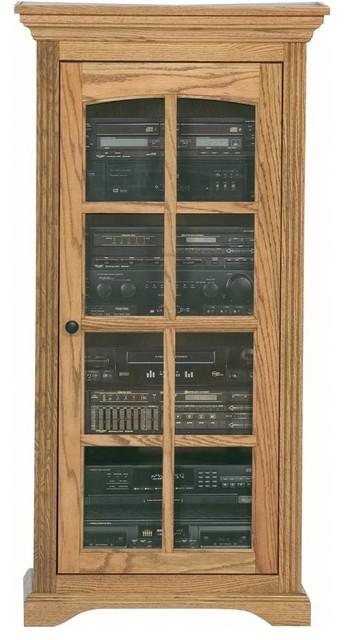 Oak Ridge Audio Tower w Glass Panel Door (Medium Oak) - Traditional - Media Cabinets - by ShopLadder