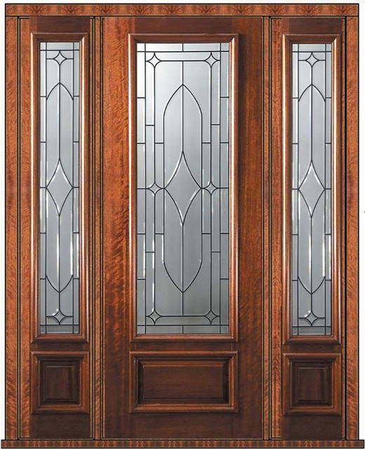 Prehung sidelights door 96 mahogany bourbon 1 panel 3 4 Prehung exterior door with sidelights