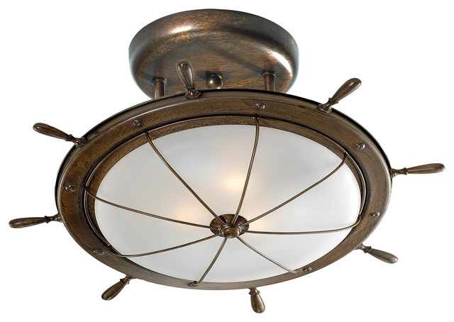 Westmenlights Vintage Small Ceiling Light Flush Mount: Ship's Wheel Ceiling Light Fixture, Antique Green, Small