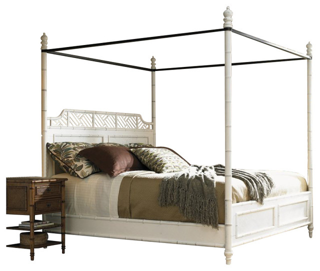 Link West In S Poster Canopy Bed In Weathered White Finish King