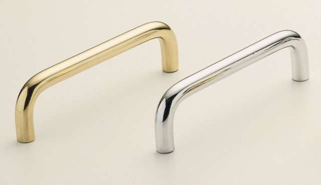 Omnia 7642-89 Solid Brass Smooth Handle Pull Cabinet Hardware - Modern - Cabinet And Drawer ...