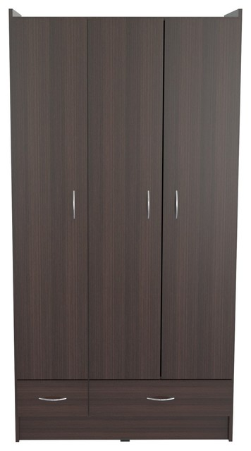Inval america three door 2 drawer wardrobe armoire in for Armoire penderie wenge