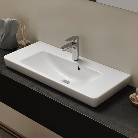 Rectangular White Ceramic Wall Mounted Vessel Or Self Rimming Sink Contemporary Bathroom
