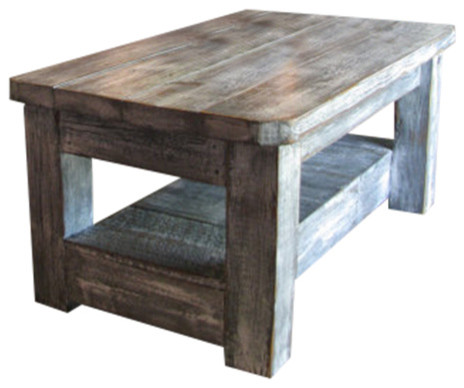 Weathered Coffee Table With Shelf, Gray - Rustic - Coffee Tables - by Rustic Exquisite Designs