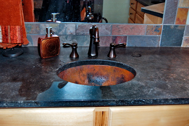 Hammered copper undermount sink eclectic bathroom for Hammered copper undermount bathroom sink