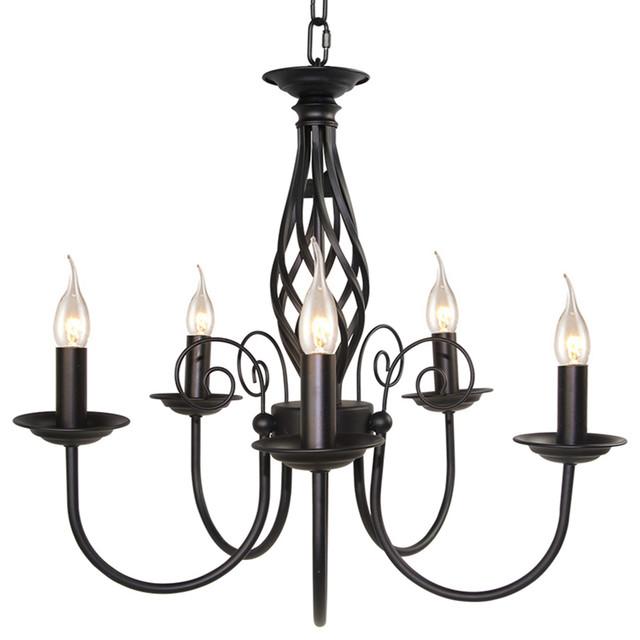 Five Light Retro Style Iron Chandelier Black Traditional