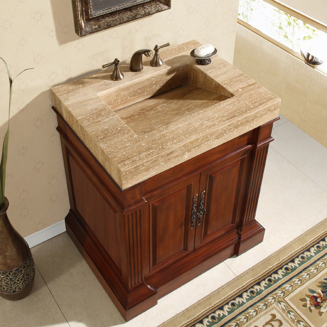 Silkroad exclusive travertine top 33 inch single sink vanity cabinet contemporary bathroom for Single sink consoles bathroom