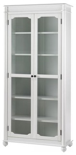 Essex Bookcase With Glass Doors Aged Cream Traditional Bookcases By Home Decorators