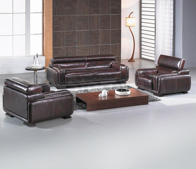 Baltimore Modern Italian Leather Sofa Set VIG Furniture Modern Living R