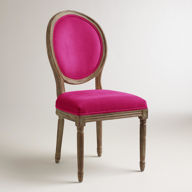 Cost Plus Chairs: Fuchsia Paige Round-Back Dining Chairs, Set Of 2