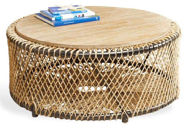 Saranda Beach Style Wood Rope Round Coffee Table