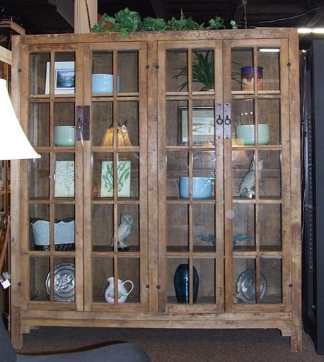 Mission Style Glass Door Cabinet Tropical Buffets And