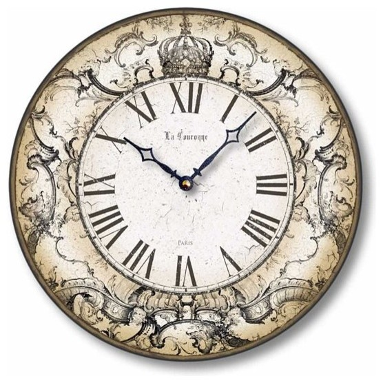 Item C8240 Antique Style Crown Clock Farmhouse Wall Clocks by Fairy Fre