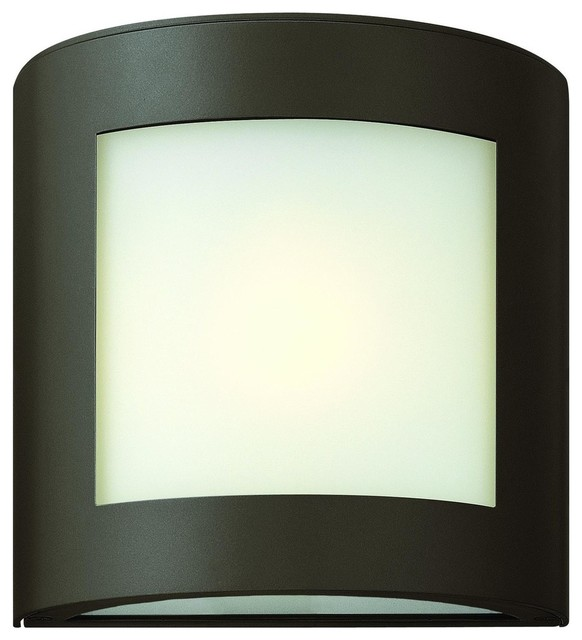 2020BZ Solara Outdoor Wall Light Bronze Inside White Etched Glass Contemp