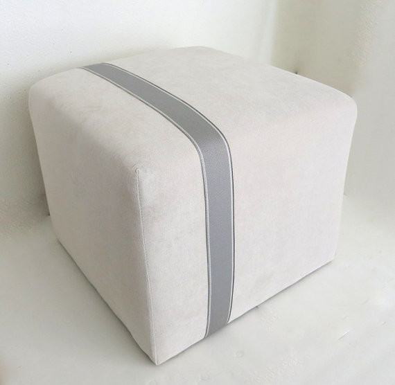 Floor Pillows Modern : Modern Minimalist Ivory Velvet Pouf Ottoman by Neo Vintage - Contemporary - Floor Pillows And ...