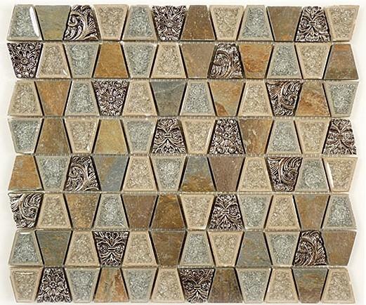 Glass Tile Mosaic With Polished Stone Trapezoid Soft