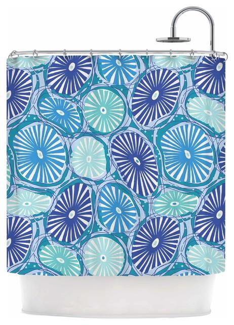 Jacqueline Milton Sea Coral Blue Blue Aqua Shower