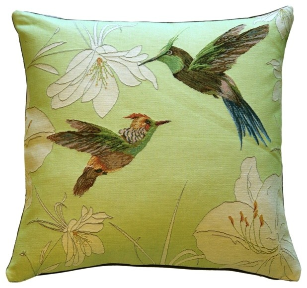 Pillow Decor - Hummingbirds Green French Tapestry Throw Pillow - Traditional - Decorative ...
