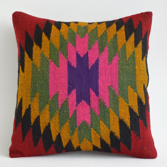 Eclectic Decorative Pillows : Rustic Kilim Pillow Cover by Sukan - Eclectic - Decorative Pillows - by Etsy