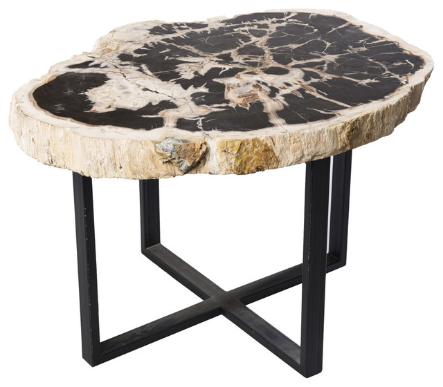 Petrified wood upper east side table contemporary