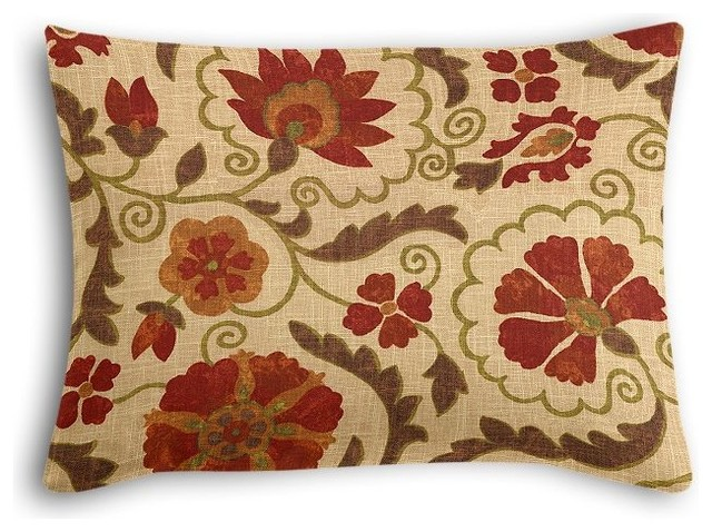 Red And Beige Decorative Pillows : Beige and Red Suzani Boudoir Pillow - Traditional - Decorative Pillows - by Loom Decor
