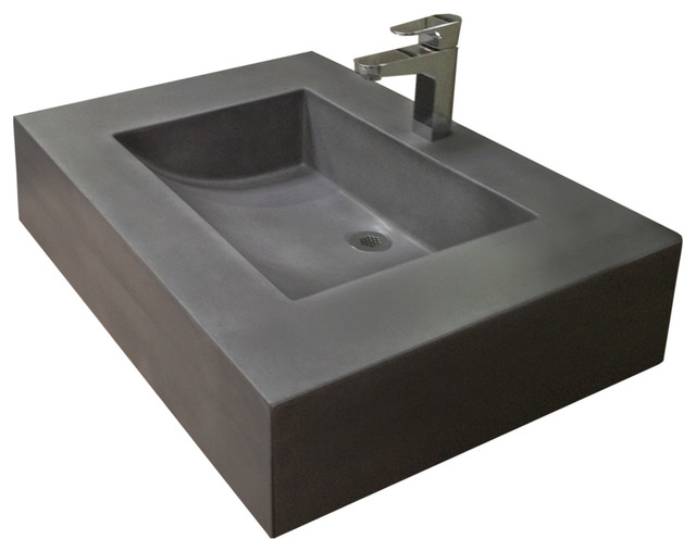 "30"" Cado Concrete Sink White Linen No Hole modern"