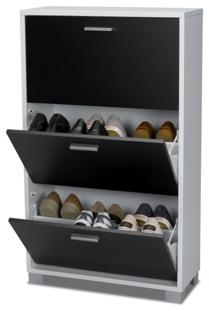 Black and White Shoe Rack with 3 Folding Doors ...