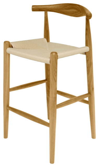 Quinn American White Oak Modern Rattan Seat Counter Stool