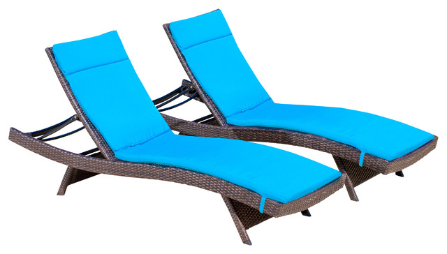 Lakeport Outdoor Adjustable Chaise Lounge Chairs w Colored Cushion Set of 2