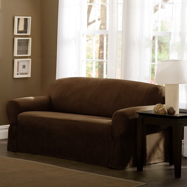 Maytex Faux Suede Sofa Slipcover Contemporary Sofas