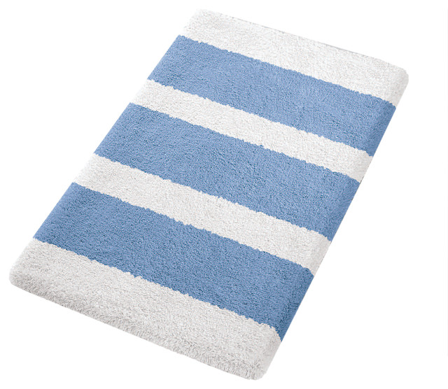 Azure Blue Contemporary Non Slip Washable Bathroom Rug Bella Large Contem