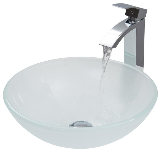 16 Bathroom Sink : 16.5 in. Round Vessel Sink and Faucet Set contemporary-bathroom-sinks