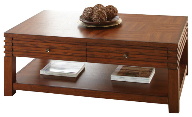 Steve Silver Lambert 3 Piece Coffee Table Set In Cherry Traditional Coffee Table Sets By