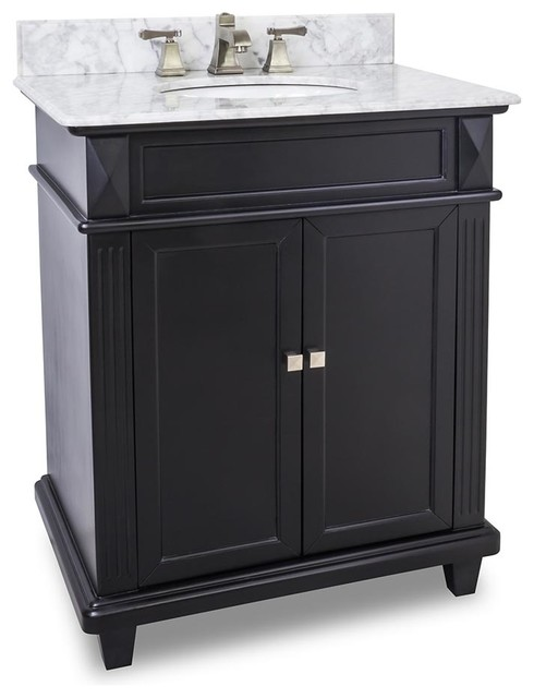 Recessed Panel Fluted Pilasters Vanity Set