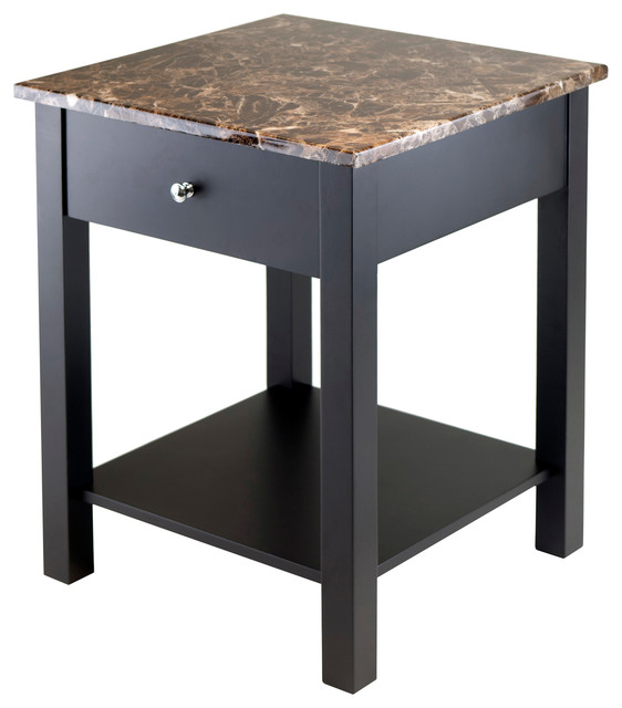 Torri Accent Table With Drawer Faux Marble Top