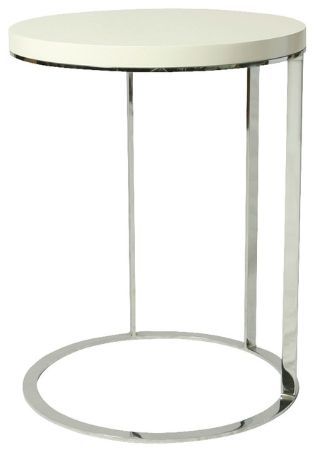 Pastel Side Table ~ Pastel metro end table chrome white base wood