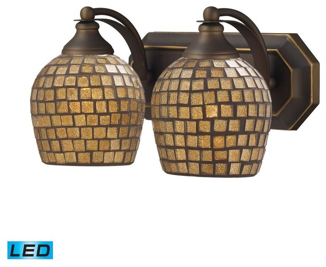 Tropical Bathroom Vanity Lights : Two Light Aged Bronze Gold Mosaic Glass Vanity - Tropical - Bathroom Vanity Lighting - by We Got ...