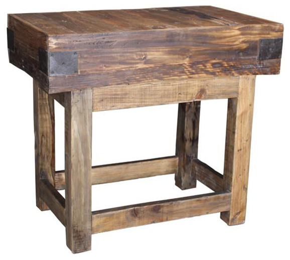 Solstice Reclaimed Wood Kitchen Island - Rustic - Kitchen