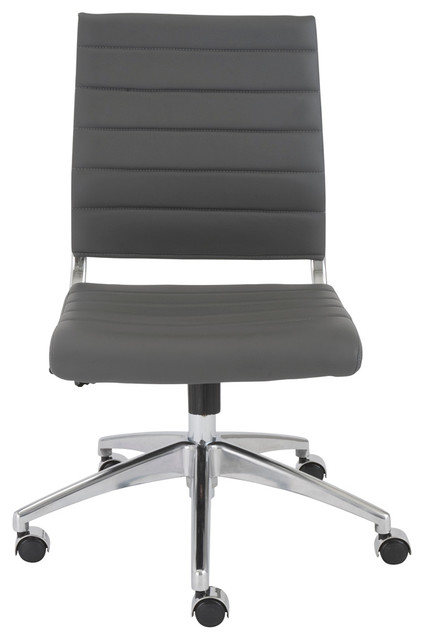 Eurostyle axel low back armless office chair in gray and aluminum contemporary office chairs - Armless office chairs uk ...