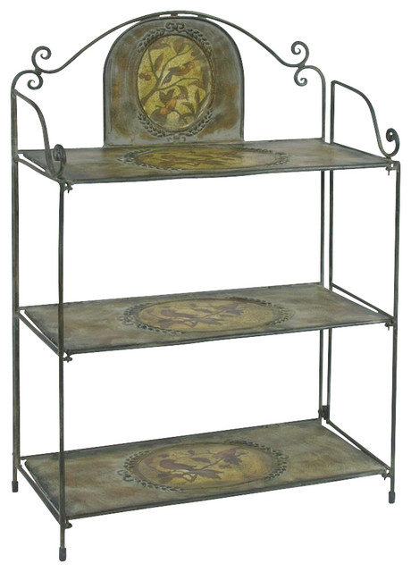 Metal Display Unit w Hand Painted Bird Designs contemporary-display ...