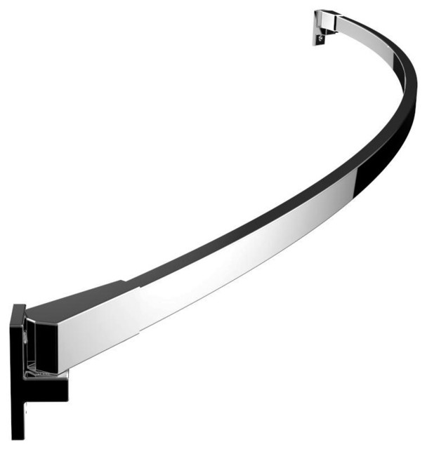 Curved Rectangular Shower Rod Polished Chrome Modern Shower Curtain Rods By Preferred