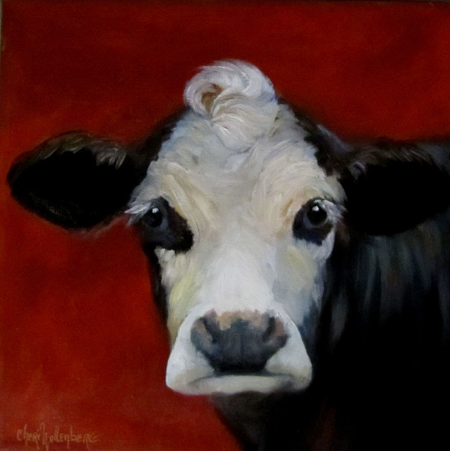 Canvas cow print bach black and white faced cow for Cow painting print