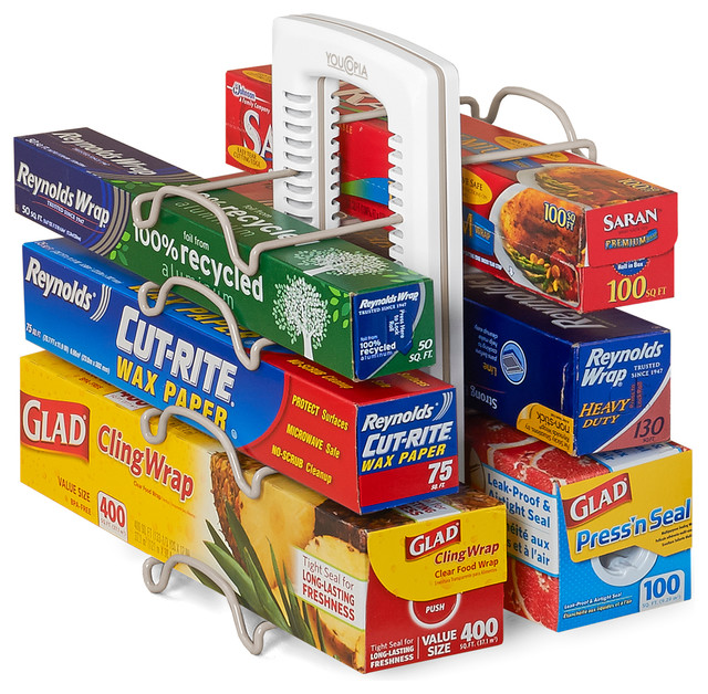 ... Wrap Stand Organizer, White traditional-pantry-and-cabinet-organizers