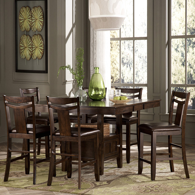 TRIBECCA HOME Marsden Rustic Brown 7 Piece Mission Counter