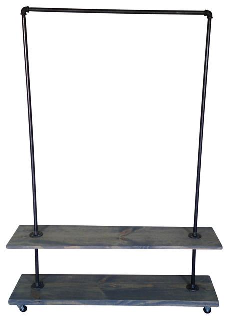 urban industrial garment rack with gray washed shelf. Black Bedroom Furniture Sets. Home Design Ideas