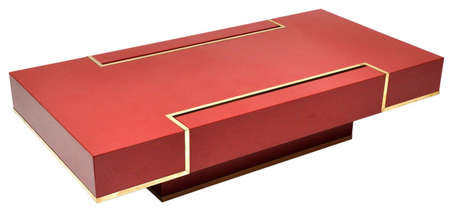 1970 39 s red lacquered low coffee table modern coffee for Red modern coffee table