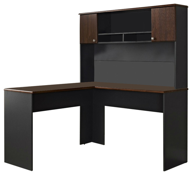 L shaped office computer desk with hutch in slate grey and cherry wood finish desks and - Cherry wood computer desk with hutch ...